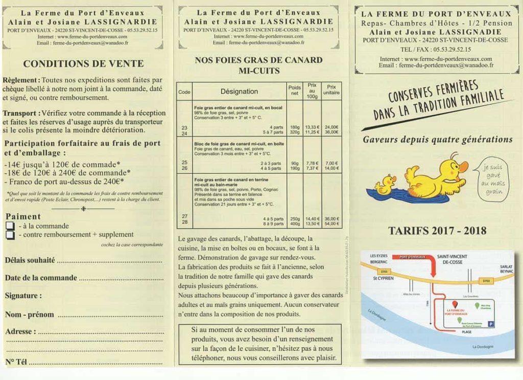 tarifs foie gras sarlat
